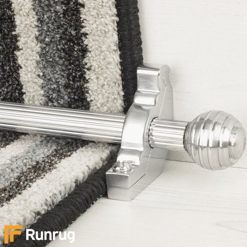 Vision Brushed Chrome Sphere Reeded Stair Rod